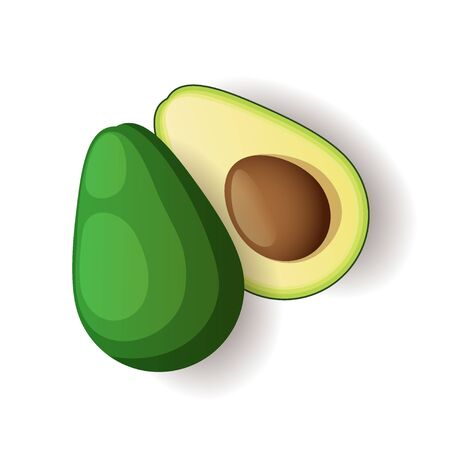 Avocado with brown seed inside icon isolated, healthy organic food, vector illustration Ilustrace