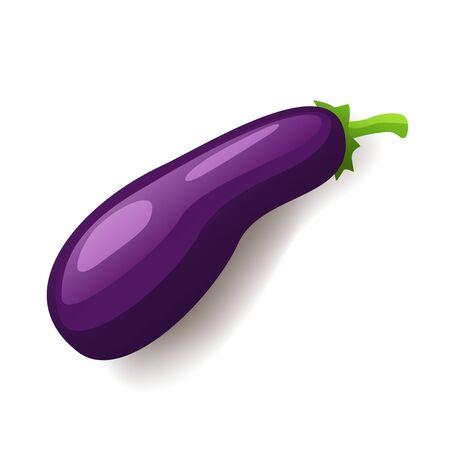 Fresh violet eggplant icon isolated, healthy organic food, vegetable, vector illustration Ilustrace