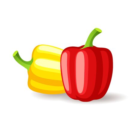 Bright red and yellow bell peppers icon isolated, organic healthy food, fresh vegetables, vector illustration