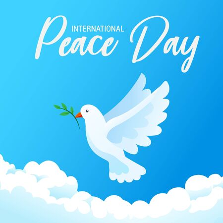 International day of peace banner poster with white bird and olive branch in clear blue sky, vector illustration