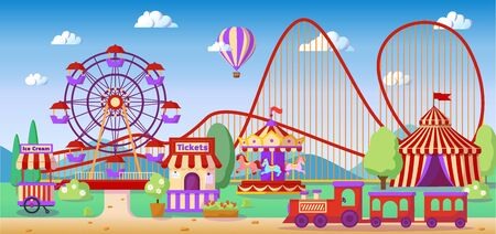 Amusement park panoramic landscape, roller coaster, colorful carousel with horses, ferris wheel, carnival tent or circus, vector illustration