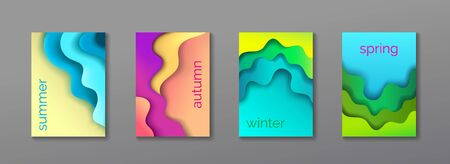 A4 abstract 4 color 3d paper art illustration set. Vector design layout for banners presentations, flyers, cards, posters and invitations. Place for text, vector modern background set Иллюстрация