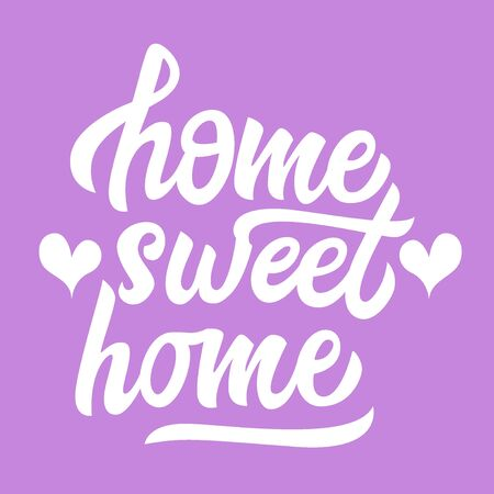 Home sweet home black handwriting lettering isolated on background with hearts, for interior design, poster, banner, vector illustration Иллюстрация