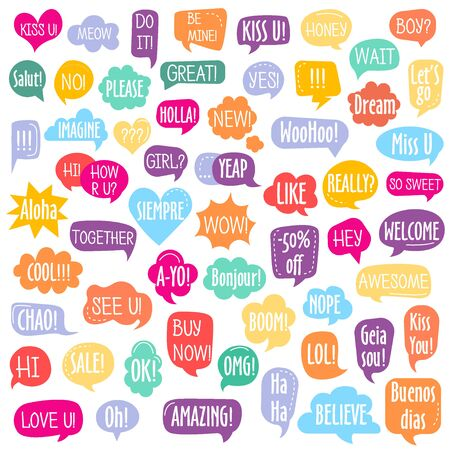 Set of different shape colorful speech bubbles with text isolated for posters design, stickers, vector illustration Ilustrace