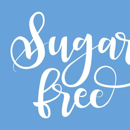 Sugar free product label, black handwriting lettering isolated on background, design for packaging, vector illustration
