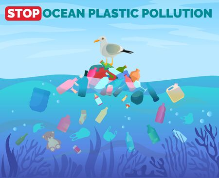 Stop ocean plastic pollution poster with gull sitting on pile of garbage in water, vector illustration