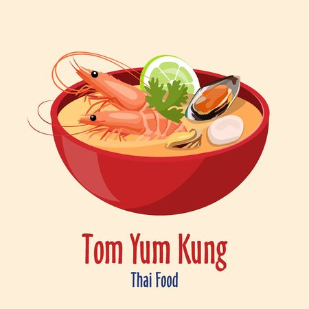 Tom Yum Kung - Red bowl with tasty seafood soup with shrimps and oysters, scallop, lime icon, Asian Thai cuisine, vector illustration Illustration
