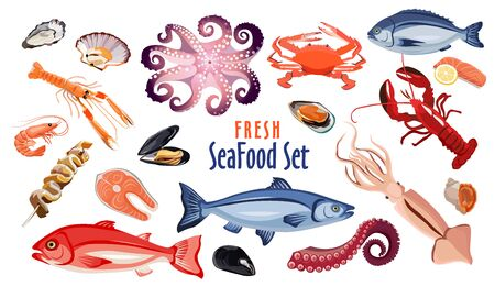 Fresh seafood icon set isolated on white background, sea meat products for restaurant or cafe design, salmon, oyster, crab, spiny lobster, squid, vector illustration Иллюстрация