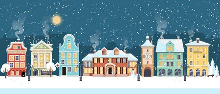 Snowy Christmas night in cozy town city panorama. Winter village landscape, flat style, vector illustration