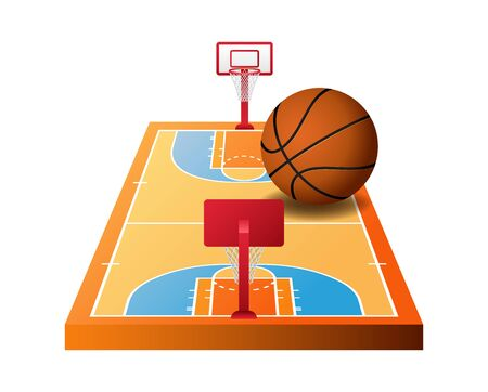 3d basketball court with hoops and orange ball isolated on white background, vector illustration Ilustrace