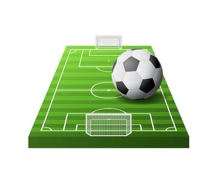 3d soccer field with green grass, goals and white and black ball isolated, vector illustration Ilustrace