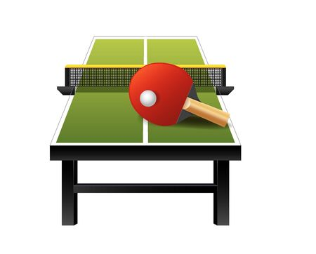 3d table tennis  equipment with net, racket and ball isolated on white background, vector illustration