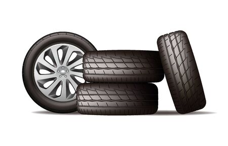 Realistic new black car wheels stack isolated on white background, four tires, vector illustration