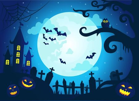 Halloween background with scary castle at night, pumpkins, bats and big moon on dark blue sky, graveyard with gravestones, old tree with spider web and owl, vector illustration Ilustrace