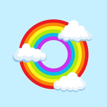 Circle LGBT rainbow in clouds symbol icon. Gay pride, vector illustration