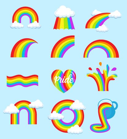 LGBT rainbow flag, symbols different shapes with clouds and drops icons set, Gay pride, vector illustration