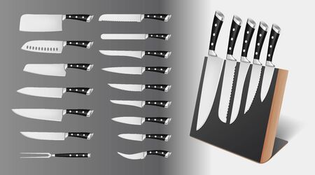 Set of professional knives with black handles on magnetic holder, rack isolated on white background, vector illustration