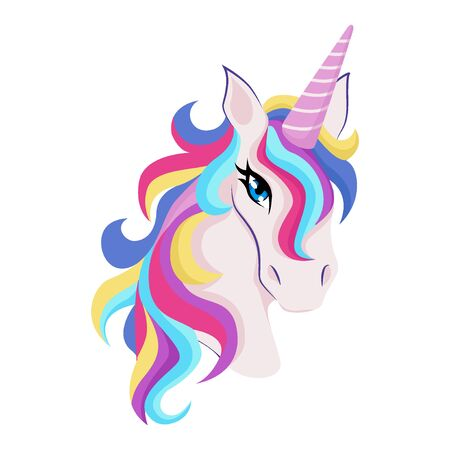 Magic unicorn with colorful horn and manes icon, decor for girl room interior or birthday, badge or sticker, vector illustration