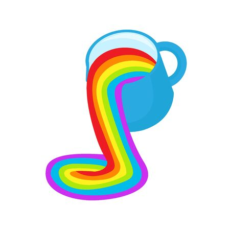 LGBT rainbow symbol icon. Rainbow fluid pours out of a cup. Gay pride, vector illustration