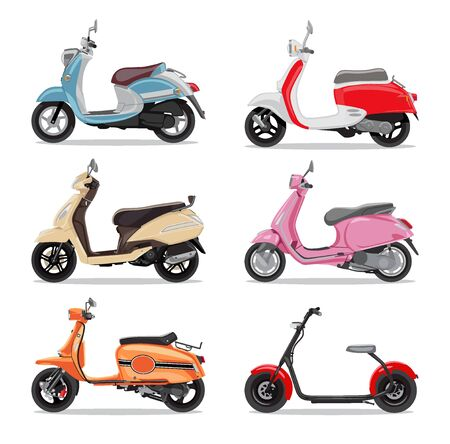 Set of colorful moped in flat style side view. Moped for delivery, scooter for tourism. Vector illustration.