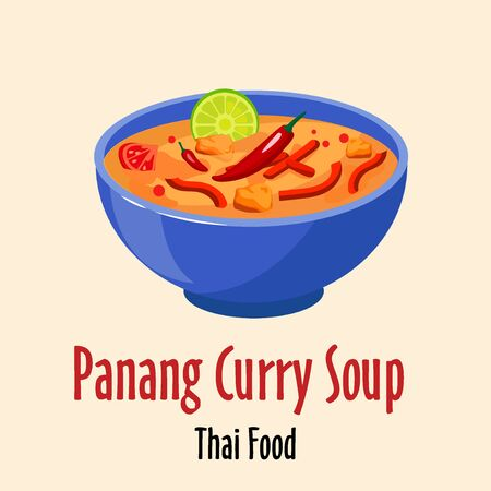 panang curry thai soup icon, spicy tasty dish in colorful bowl isolated vector illustration