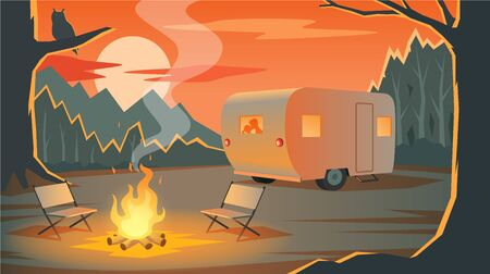 Camping landscape with camper, silhouettes loving couple in the trailer, mountains, forest and bonfire in evening, owl on a branch, sunset, outdoor recreation, travelling, vector illustration