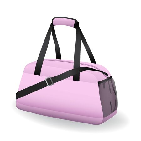 Pink black sport bag for sportswear and equipment icon isolated on white background, workout, training, fitness, vector illustration Ilustrace