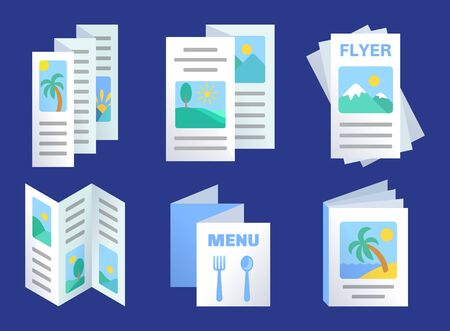 Set of three-fold brochures template, advertisement flyers, paper menu, product promotion, presentation design, vector illustration in flat style Ilustrace