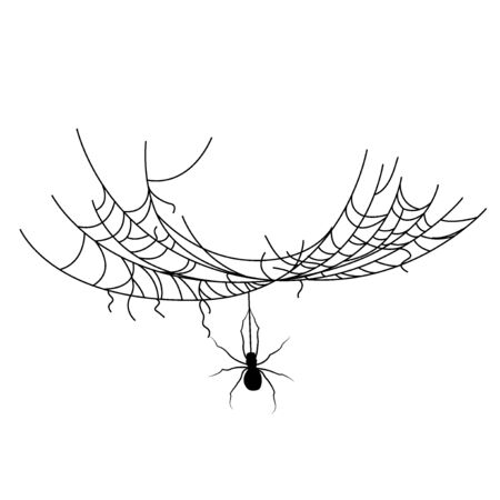 Set of spider web of different shapes with black spiders isolated, Halloween decorations, vector illustration Иллюстрация