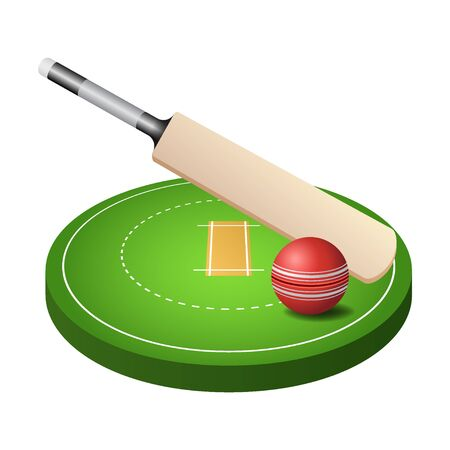3d cricket field with green grass, red ball and bat icon isolated on white background, vector illustration Banco de Imagens - 131931893
