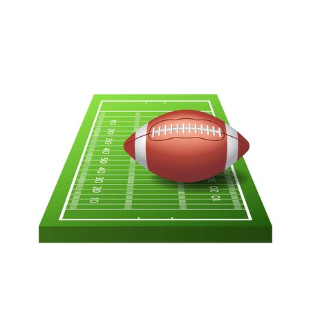 3d American football field icon with green grass and ball isolated on white background, vector illustration Ilustrace