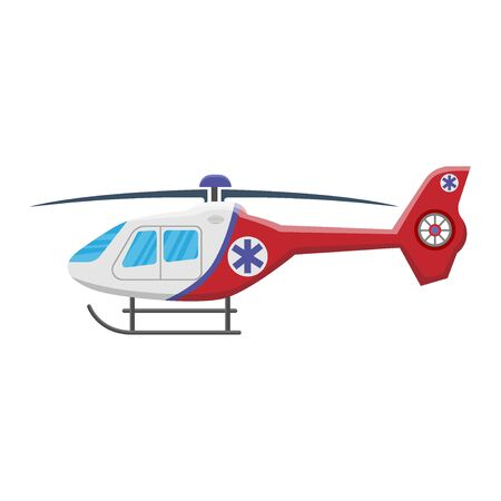 Icono de helicóptero médico aislado sobre fondo blanco, transporte aéreo, aviación, ilustración vectorial