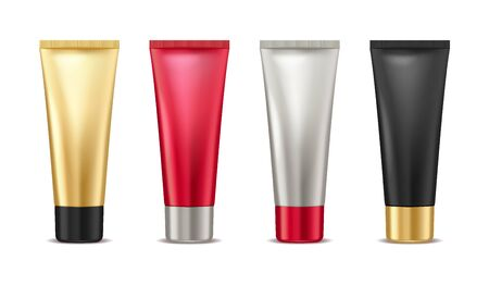 Blank tube mock up gold, red, silver and black tube for cosmetic product set isolated on white background, package container for cream, lotion, toothpaste, vector illustration