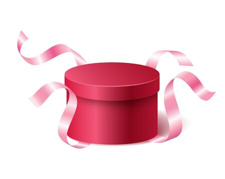 Red pink closed 3d realistic round gift box with flying off ribbons and place for your text, realistic box vector illustration