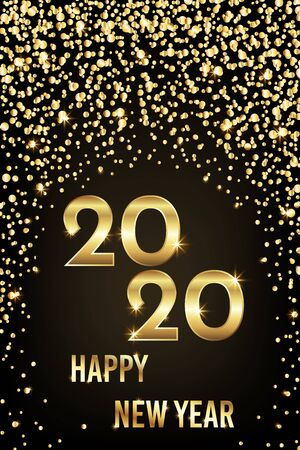 2020 happy new year congratulation with gold sparkles and shining text, vector illustration Çizim