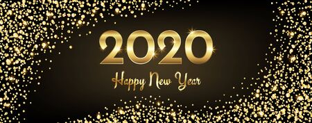2020 happy new year congratulation with gold sparkles and shining text, vector illustration Archivio Fotografico - 131725022