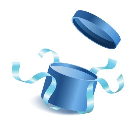 Blue opened 3d realistic round gift box with flying off cover and ribbons and place for your text, realistic box vector illustration Archivio Fotografico - 132247885