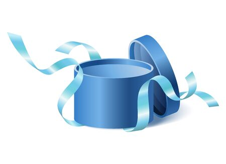 Blue opened 3d realistic round gift box with flying off cover and ribbons and place for your text, realistic box vector illustration