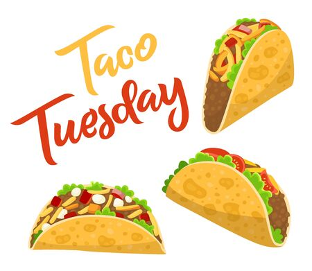 Traditional taco Tuesday, cafe or restaurant poster with delicious tacos, spicy Mexican food with tortilla, beef, salad and tomato, vector illustration