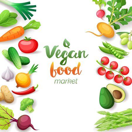 Vegetables top view square frame. Vegan food market menu design. Colorful fresh vegetables, organic healthy food, vector illustration