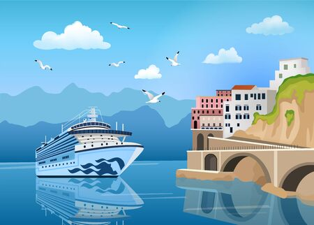 Landscape with cruise ship near coast with buildings and houses, tourism and travelling concept, seagulls in clear blue sky, vector illustration