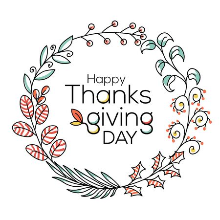 Hand drawn Happy Thanksgiving typography in autumn wreath banner in line style. Celebration text with berries and leaves for postcard, icon or badge. Vector calligraphy lettering holiday quote Ilustração