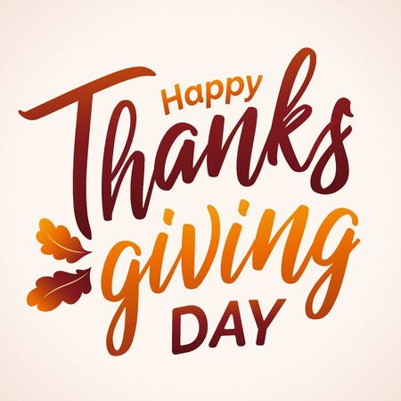 Hand drawn Happy Thanksgiving typography in autumn colors banner. Celebration text with leaves for postcard, icon or badge. Vector calligraphy lettering holiday quote.
