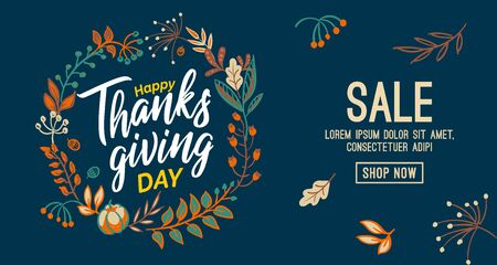Hand drawn Happy Thanksgiving typography in autumn wreath banner. Celebration text with berries and leaves for postcard, icon or badge. Vector calligraphy lettering holiday quote. Ilustração