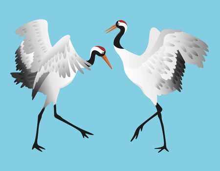 Japanese red-crowned crane dancing, standing in different poses isolated on white background set, vector illustration Векторная Иллюстрация