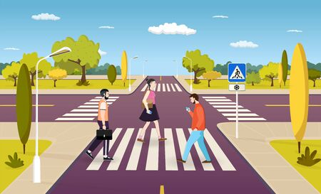 People walking on safe crosswalk with road sign, pedestrians crossing empty road at intersection, traffic laws, vector illustration Ilustracja