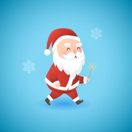Christmas icons with funny Santa Claus holding sparkler, vector illustration