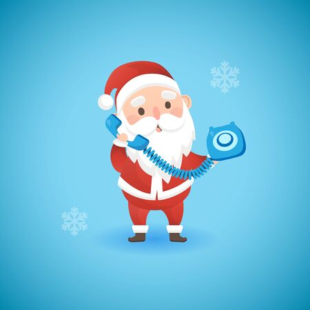 Christmas funny Santa Claus holding blue old phone, vector illustration