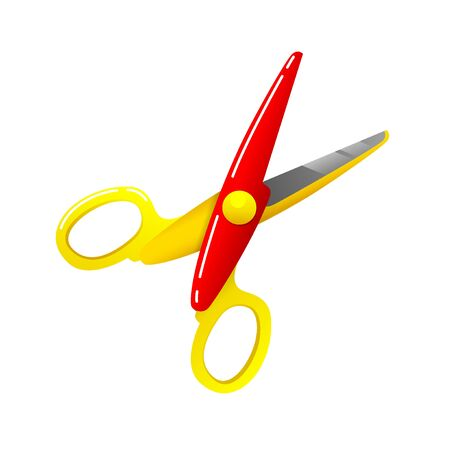 Stationery colored plastic scissors icon flat style isolated on white, vector illustration