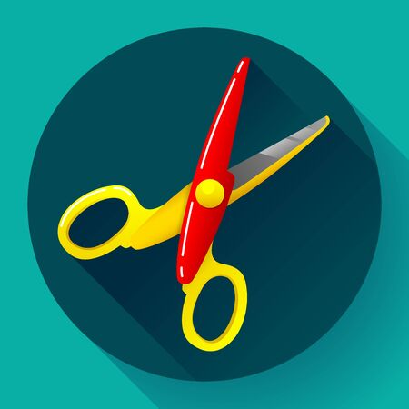 Stationery colored plastic scissors icon flat style long shadow, vector illustration